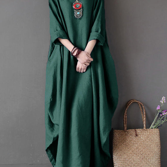 Casual Loose Pure Color Baggy Maxi Dress-Dee SuSu-Green-2XL-Dee SuSu