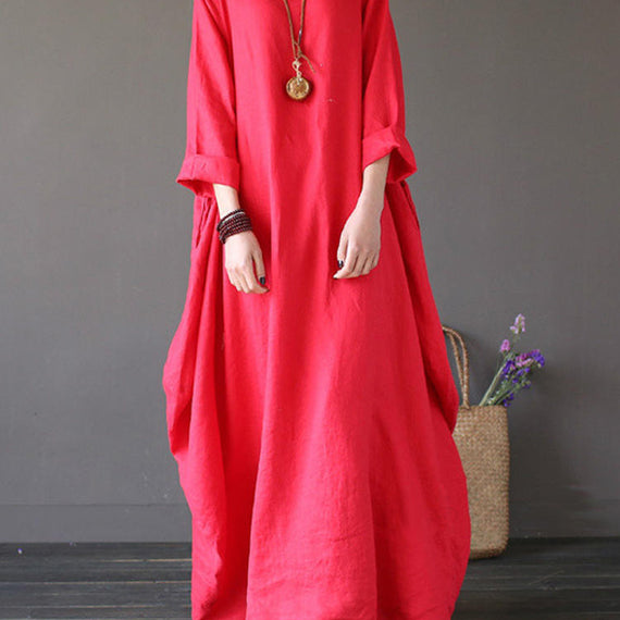Casual Loose Pure Color Baggy Maxi Dress-Dee SuSu-Red-2XL-Dee SuSu