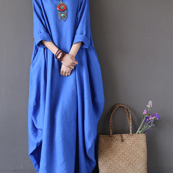 Casual Loose Pure Color Baggy Maxi Dress-Dee SuSu-Blue-2XL-Dee SuSu