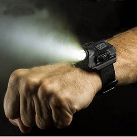 Waterproof Wristwatch with Rechargeable Flashlight