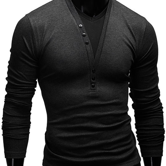 Men's V-Neck Buttoned Casual Pullover-Dee SuSu-Dark Gray-L-Dee SuSu