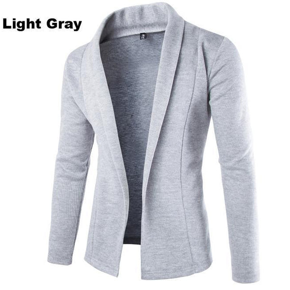 Cardigan for Winter - Men Long Sleeve Sweater-Dee SuSu-Light Gray-L-Dee SuSu