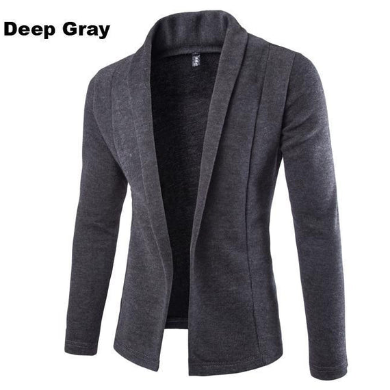 Cardigan for Winter - Men Long Sleeve Sweater-Dee SuSu-Deep Gray-L-Dee SuSu