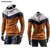 Men's Leisure Slim Patchwork Hoodies-Dee SuSu-Camel LightGray Hat-L-Dee SuSu