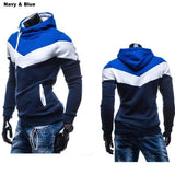 Men's Leisure Slim Patchwork Hoodies-Dee SuSu-Navy CowboyBlue Hat-L-Dee SuSu