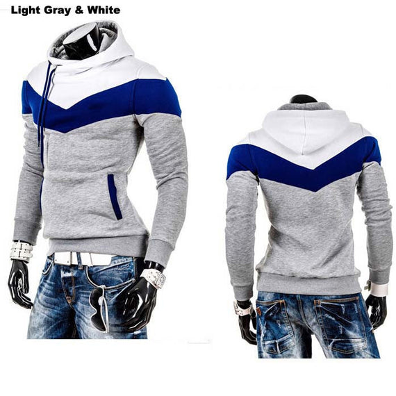 Men's Leisure Slim Patchwork Hoodies-Dee SuSu-LightGray WhiteHat-L-Dee SuSu