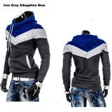Men's Leisure Slim Patchwork Hoodies-Dee SuSu-DarkGray Blue Hat-L-Dee SuSu
