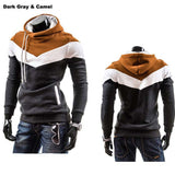 Men's Leisure Slim Patchwork Hoodies-Dee SuSu-DarkGray Camel Hat-L-Dee SuSu
