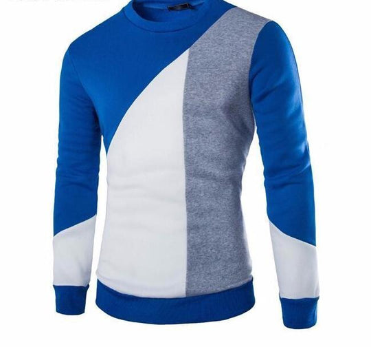 Patchwork Knitted O-Neck Sweater for Men-Dee SuSu-Blue-L-Dee SuSu