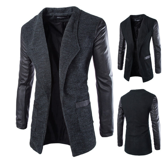 Wool Long Sleeve Slim Fit Coat for Men-Dee SuSu-Dee SuSu