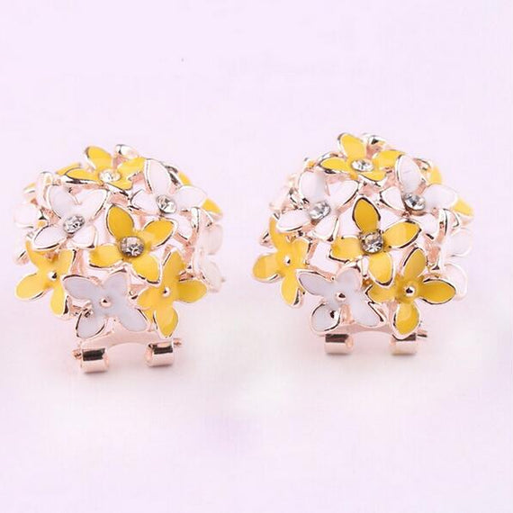 Floral Earrings-Dee SuSu-Yellow white-Dee SuSu