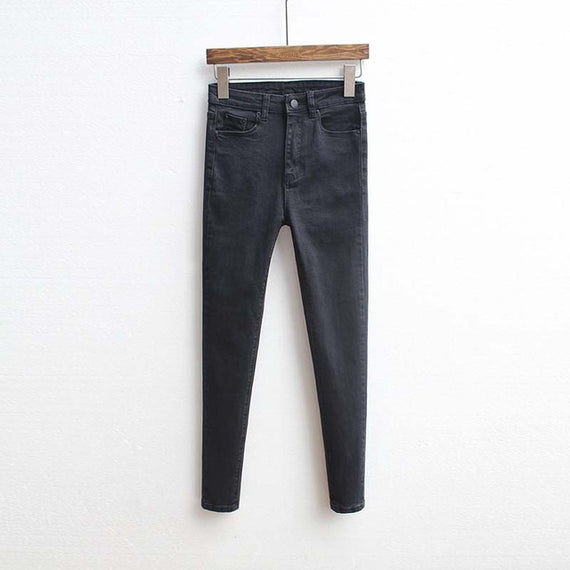 Slim Fit High Waist Denim Jeans Black-Dee SuSu-Black-26-Dee SuSu