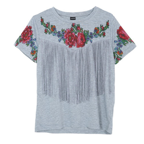 Floral print vintage red rose O-neck short sleeve t-shirt-Dee SuSu-as pictured-L-Dee SuSu