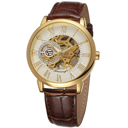 Leather Hollow Skeleton Shock and Water resistant Wristwatch-Dee SuSu-brown band-Dee SuSu