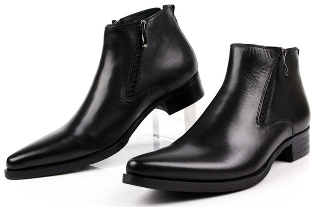 Pointed Toe Leather Boots/Shoes For Men-Dee SuSu-black-6-Dee SuSu