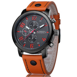Luxury Quartz wristwatch for Men-Dee SuSu-black orange-Dee SuSu