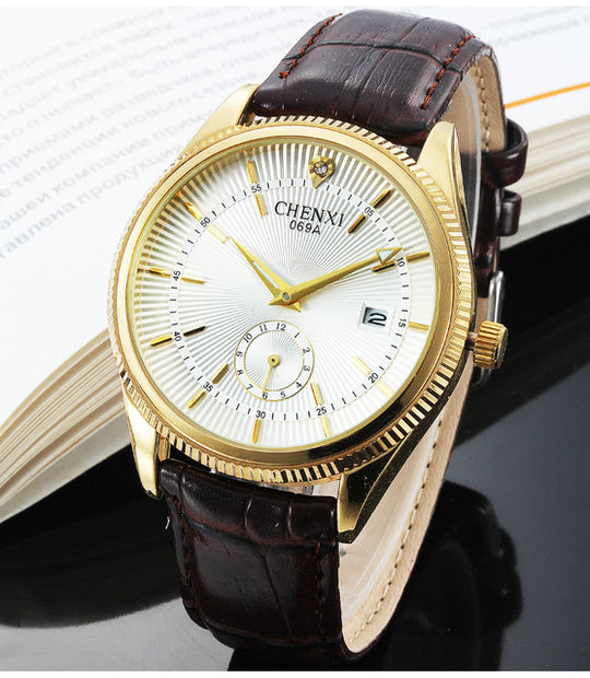 Men's Dress Watch with Genuine Leather-Dee SuSu-Gold White-Dee SuSu