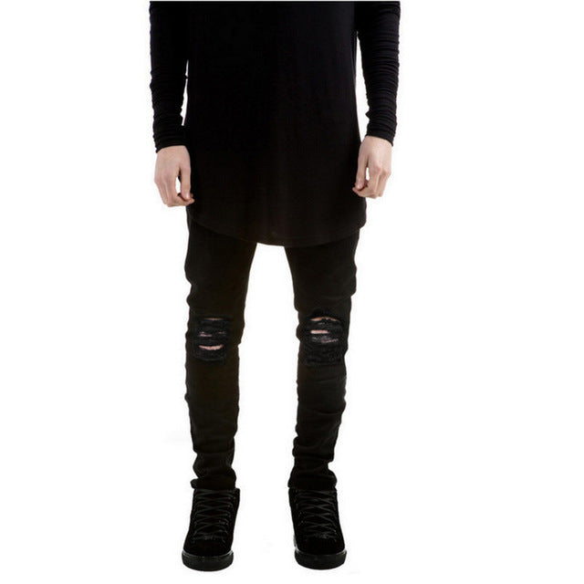 Ripped Slim Fit Jeans For Men-Dee SuSu-Black-28-Dee SuSu