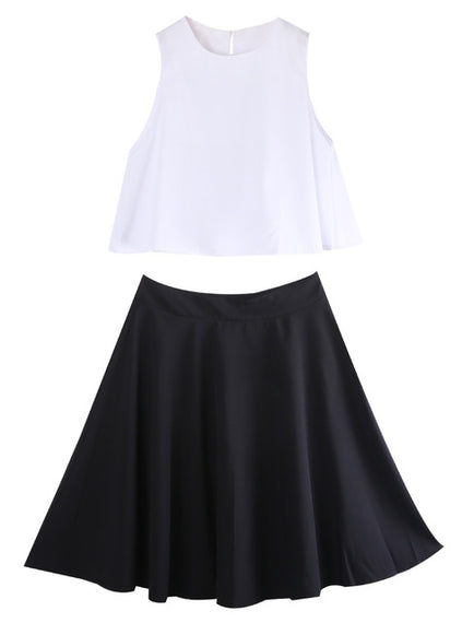 High Waisted A-Line Skirt and Top-Dee SuSu-white black-S-Dee SuSu