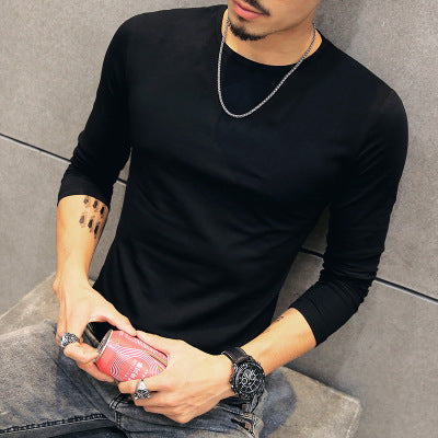 Men's slim fit O-Neck Long Sleeve T-Shirts-Dee SuSu-Black-Asian Size M-Dee SuSu