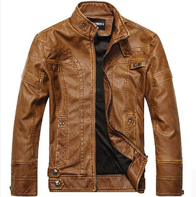 Motorcycle Leather Jacket For Men-Dee SuSu-Khaki-M-Dee SuSu