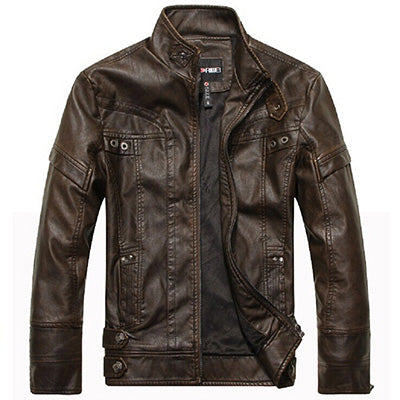 Motorcycle Leather Jacket For Men-Dee SuSu-Brown-M-Dee SuSu