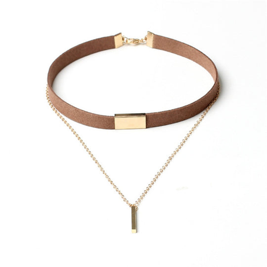Velvet Choker With Gold Chain-Dee SuSu-Brown-Gold-Dee SuSu