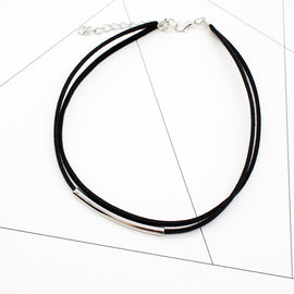 Velvet Choker with Metal Accent-Dee SuSu-silver black-Dee SuSu