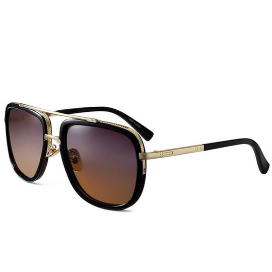 Vintage Metal Big Frame Retro Sunglasses for Men and Women-Dee SuSu-gray brown lens-Dee SuSu
