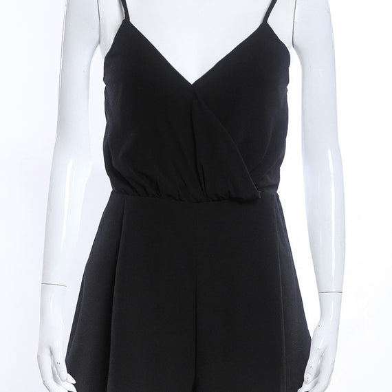 Sleeveless Solid Black Deep V Neck Loose Romper Jumpsuit-Dee SuSu-Dee SuSu