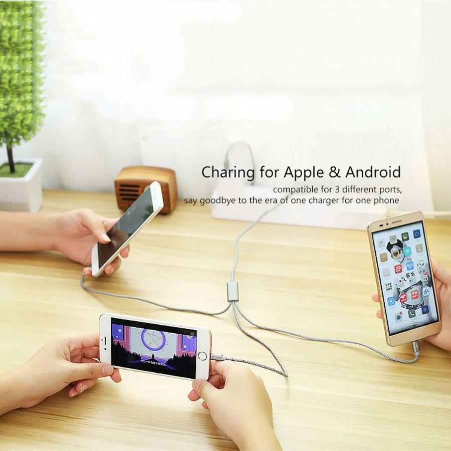 3 in 1 Charge Cable Micro USB For All Smartphones, , Dee SuSu