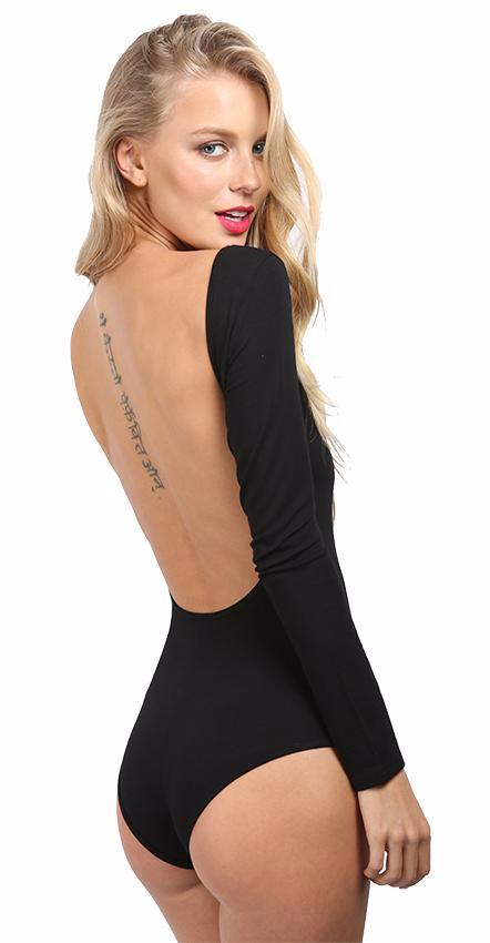 Long Sleeve Backless Bodysuit-Dee SuSu-Dee SuSu