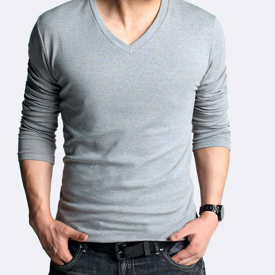 High-elastic cotton long sleeve v neck T-shirt free-Dee SuSu-Dee SuSu