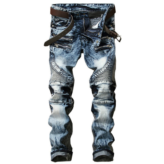 Men's Biker Slim Fit Pleated Denim Multi Zippers Jeans-Dee SuSu-Dee SuSu