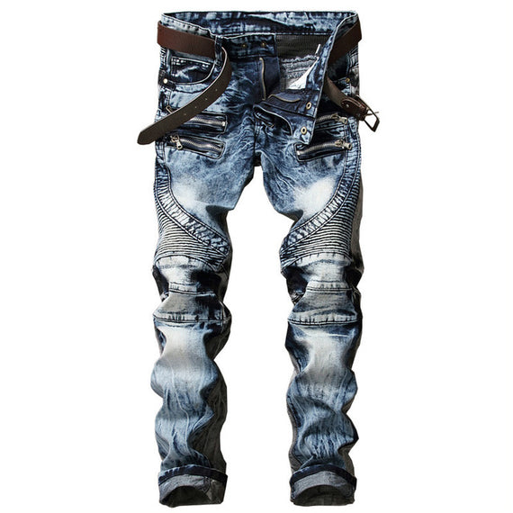Men's Biker Slim Fit Pleated Denim Multi Zippers Jeans-Dee SuSu-Blue-34-Dee SuSu