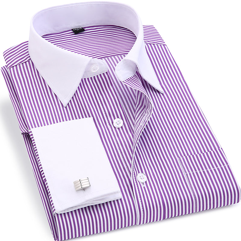 High Quality Striped French Cufflinks Long Sleeved Shirt-Dee SuSu-Dee SuSu