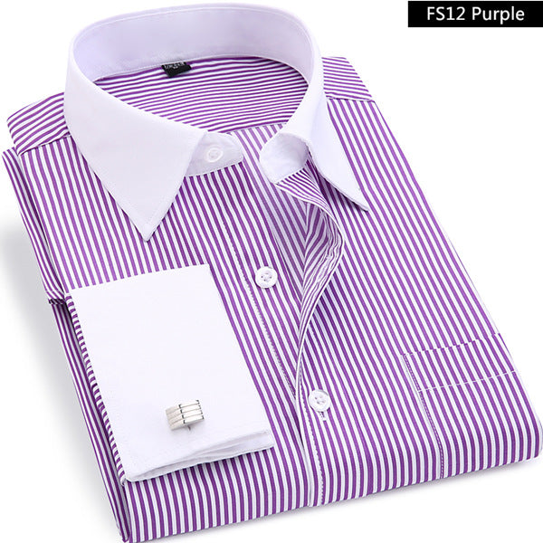 High Quality Striped French Cufflinks Long Sleeved Shirt-Dee SuSu-FS12 Purple-Asian size M-Dee SuSu