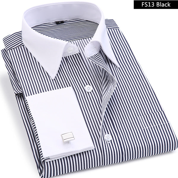 High Quality Striped French Cufflinks Long Sleeved Shirt-Dee SuSu-FS13 Black-Asian size XL-Dee SuSu