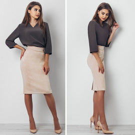 High Waisted Suede Pencil Skirt-Dee SuSu-Dee SuSu