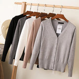 Long Sleeve Loose Buttons V-Neck Knitted Cardigan-Dee SuSu-Dee SuSu
