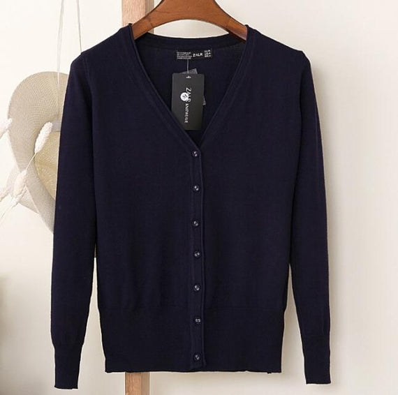 Long Sleeve Loose Buttons V-Neck Knitted Cardigan-Dee SuSu-navy blue-S-Dee SuSu