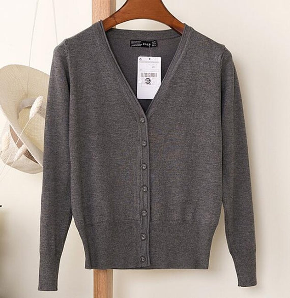 Long Sleeve Loose Buttons V-Neck Knitted Cardigan-Dee SuSu-dark grey-S-Dee SuSu