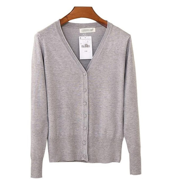Long Sleeve Loose Buttons V-Neck Knitted Cardigan-Dee SuSu-light grey-S-Dee SuSu