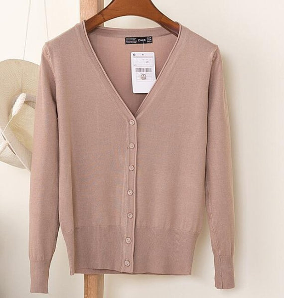 Long Sleeve Loose Buttons V-Neck Knitted Cardigan-Dee SuSu-khaki-S-Dee SuSu
