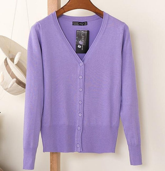 Long Sleeve Loose Buttons V-Neck Knitted Cardigan-Dee SuSu-purple-S-Dee SuSu