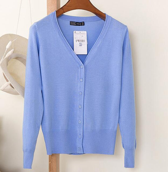 Long Sleeve Loose Buttons V-Neck Knitted Cardigan-Dee SuSu-sky blue-S-Dee SuSu