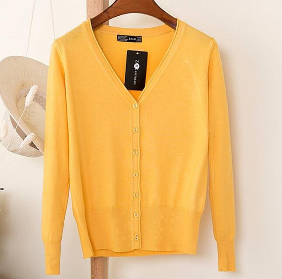 Long Sleeve Loose Buttons V-Neck Knitted Cardigan-Dee SuSu-yellow-S-Dee SuSu