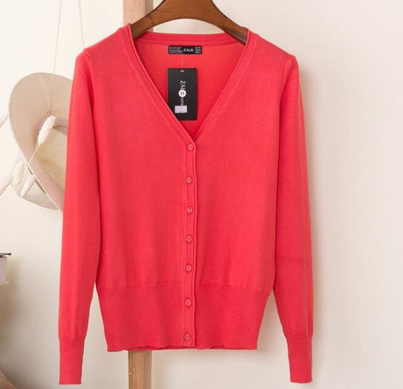 Long Sleeve Loose Buttons V-Neck Knitted Cardigan-Dee SuSu-watermelon-S-Dee SuSu