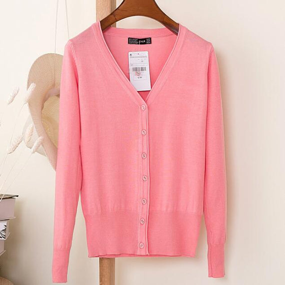 Long Sleeve Loose Buttons V-Neck Knitted Cardigan-Dee SuSu-pink-S-Dee SuSu