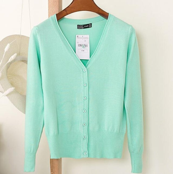 Long Sleeve Loose Buttons V-Neck Knitted Cardigan-Dee SuSu-light green-S-Dee SuSu